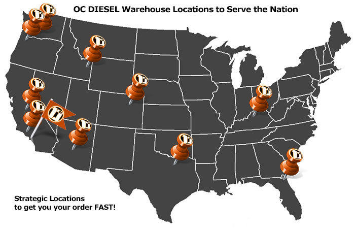 OCDiesel Warehouse Locations - Shipping to the Nation