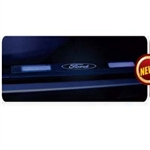 Recon 264121RFDBK Illuminated Door Sill 1999-2012 Ford Superduty Black Anodized Blue Electroluminescence